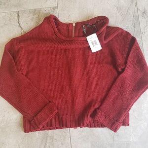 NWT Poof! Crop Top Zip Back Sweater.  B21